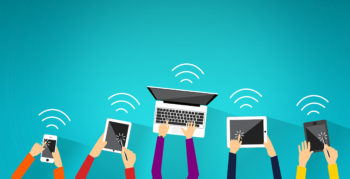 Multiple mobile and laptop devices connected to the internet via wifi