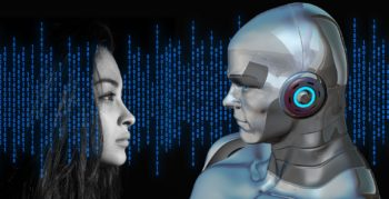 Girl comes face to face with CGI android amongst binary code